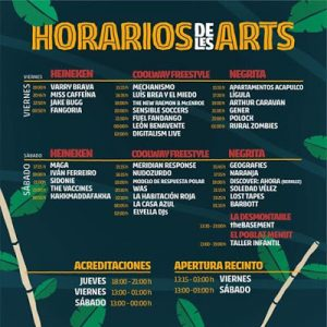 Festival de les arts 2017. Horarios.